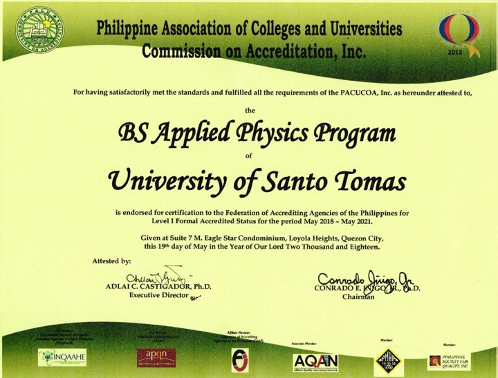 BS Applied Physics received formal accreditation from PACUCOA